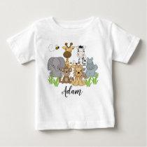 Safari Jungle Animals Baby Kids Name Baby T-Shirt