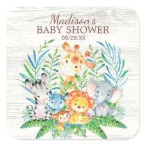 Safari Jungle Animals Baby Shower Favor Sticker