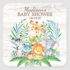 Safari Jungle Animals Baby Shower Favor Sticker