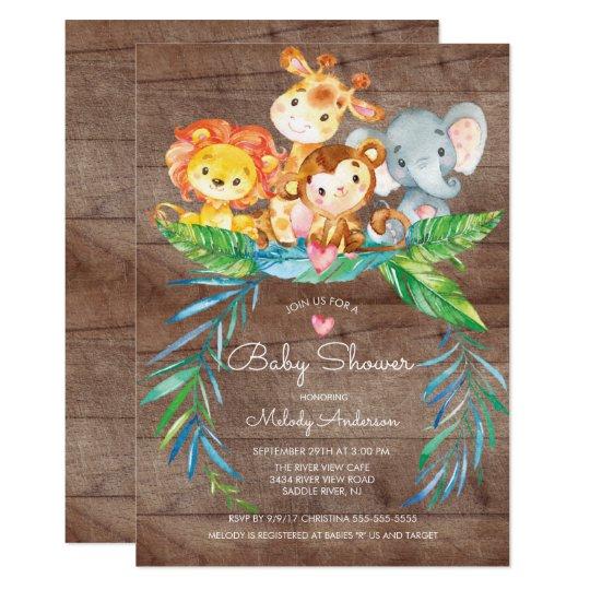 Safari Jungle Animals Baby Shower Invitation Zazzle Com