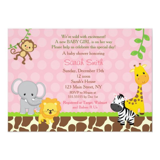 Safari Jungle Animals Baby Shower Invitations Girl Zazzlecom