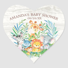 Safari Jungle Animals Baby Shower Sticker