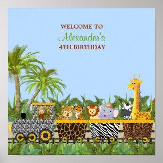 Safari Jungle Animals in Train Birthday Poster
