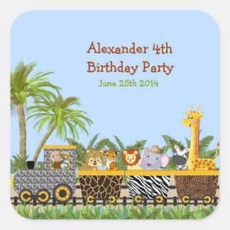Safari Jungle Animals in Train Birthday Sticker