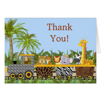 Safari Jungle Animals in Train Thank You Card