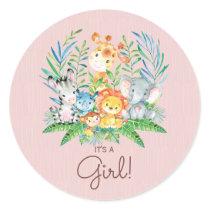 Safari Jungle Animals It' a Girl Favor Sticker