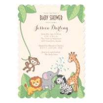 Safari Jungle Animals Modern Baby Shower Invitation