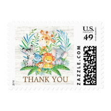 Safari Jungle Animals Thank You Postage Stamp