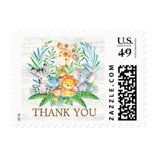 Safari Jungle Animals Thank You Postage Stamp