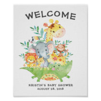 Safari Jungle Animals Welcome Baby Shower Poster