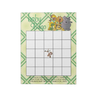 Safari Jungle Baby Animals - Bingo Notepad