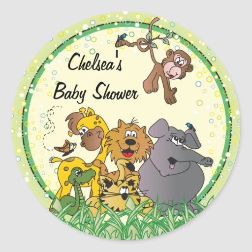 Safari jungle baby animals classic round sticker zazzle for Classic jungle house for small animals