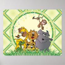 Safari Jungle Baby Animals Poster