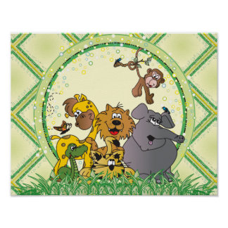 Safari Jungle Baby Animals Poster