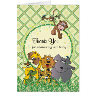 Safari Jungle Baby Animals - Thank You Card