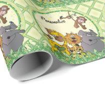 Safari Jungle Baby Animals Wrapping Paper