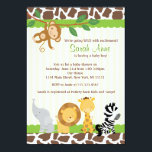 "Safari Jungle Baby Boy Shower Invitation<br><div class=""desc"">Fun Modern showerr invite! Matching party items {banners,  water labels,  cupcake toppers, etc} available,  email seasidepapercompany@gmail.com Graphics by Zenware Designs at Mygrafico http://www.mygrafico.com/</div>"