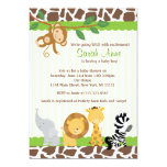Safari Jungle Baby Boy Shower Invitation<br><div class='desc'>Fun Modern showerr invite! Matching party items {banners,  water labels,  cupcake toppers, etc} available,  email seasidepapercompany@gmail.com Graphics by Zenware Designs at Mygrafico http://www.mygrafico.com/</div>