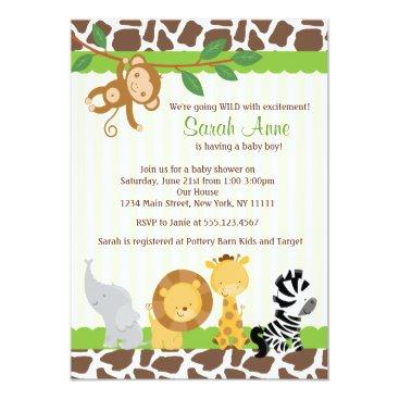 Toddler & Baby themed Safari Jungle Baby Boy Shower Invitation