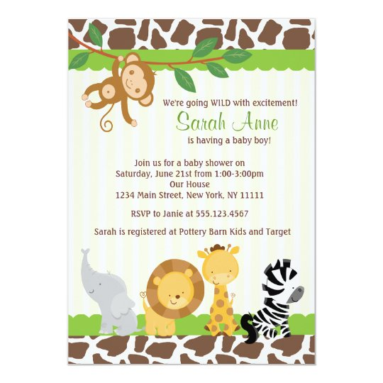 Safari Jungle Baby Boy Shower Invitation Zazzlecom