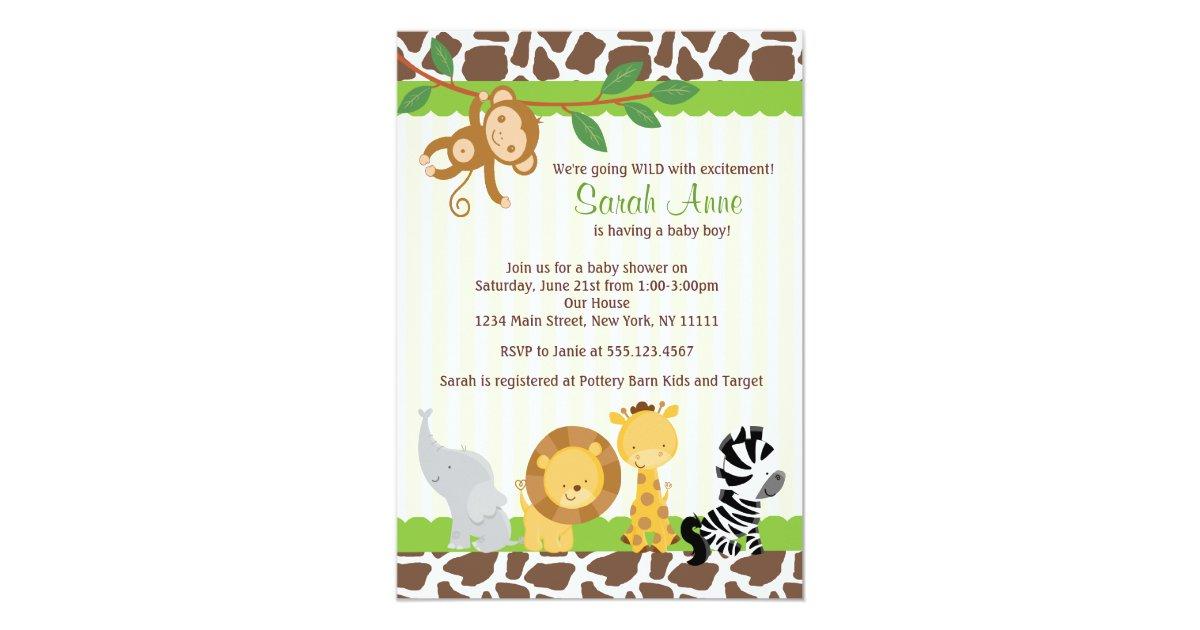 Safari Jungle Baby Boy Shower Invitation | Zazzle.com