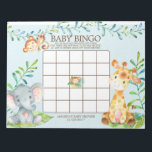 "Safari Jungle Baby Shower Bingo Game Notepad<br><div class=""desc"">Cute baby shower bingo game safari jungle animals featuring an elephant,  monkey &amp; giraffe with an assortment of jungle leaves set on a blue background for a boys baby shower.  Visit our shop to view our entire jungle safari baby shower collection!</div>"