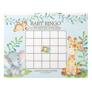 Safari Jungle Baby Shower Bingo Game Notepad
