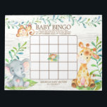 """Safari Jungle Baby Shower Bingo Game Notepad<br><div class=""""desc"""">Cute baby shower bingo game safari jungle animals featuring an elephant,  monkey & giraffe with an assortment of jungle leaves set on a white wood background for a gender neutral baby shower.  Visit our shop to view our entire jungle safari baby shower collection!</div>"""