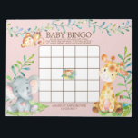 "Safari Jungle Baby Shower Bingo Game Notepad<br><div class=""desc"">Cute baby shower bingo game safari jungle animals featuring an elephant,  monkey &amp; giraffe with an assortment of jungle leaves set on a pink background for a girls  baby shower.  Visit our shop to view our entire jungle safari baby shower collection!</div>"