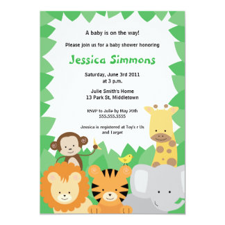 Safari Jungle Baby Shower - Boy/Girl Custom Invitation