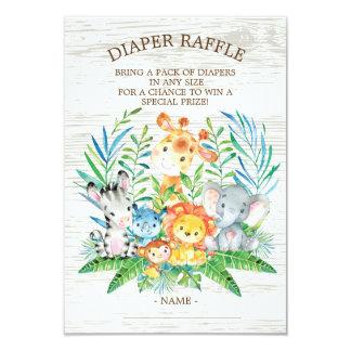 Safari Jungle Baby Shower Diaper Raffle Ticket Card