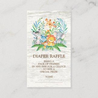 Safari Jungle Baby Shower Diaper Raffle Ticket Enclosure Card