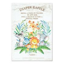 Safari Jungle Baby Shower Diaper Raffle Ticket Invitation