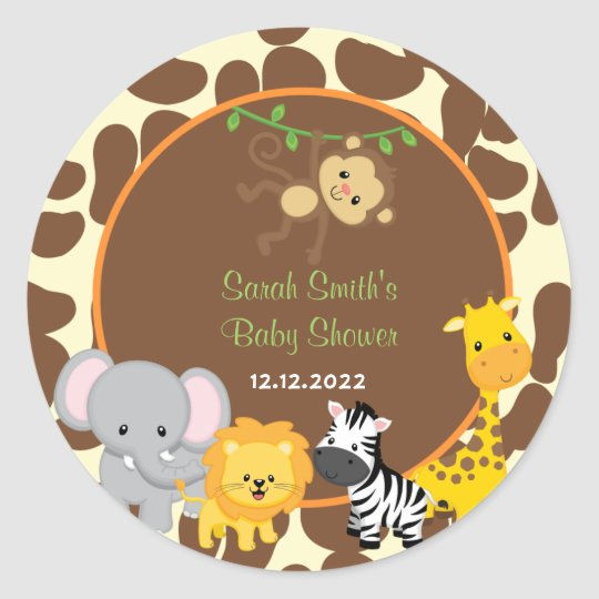 Safari Jungle Baby Shower Favor Tags Stickers | Zazzle.com