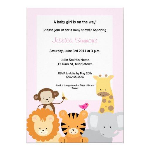 Safari Jungle Baby Shower - Girl Personalized Invites