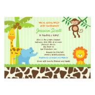 Safari Jungle Baby Shower Invitations