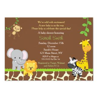 Safari Jungle Baby Shower Invitations Brow