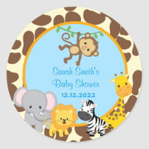 Safari Jungle Boy Baby Shower Favor Tags Stickers