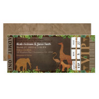 Safari Jungle Brown Animals Wedding Ticket Invitation