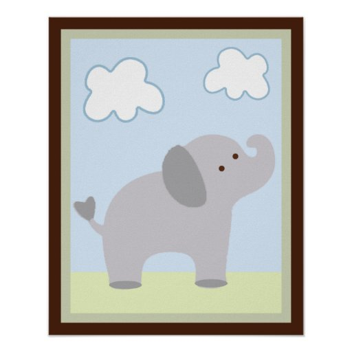 Safari Jungle Elephant Wall Art Poster/Print