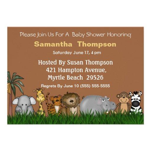 Safari Jungle Friends  Baby Shower Invitation