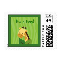 Safari Jungle Giraffe Baby Boy Postage Stamps