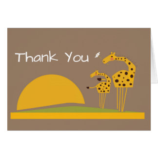 Safari jungle giraffe thank you card