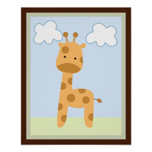 Safari Jungle Giraffe Wall Art Poster/Print