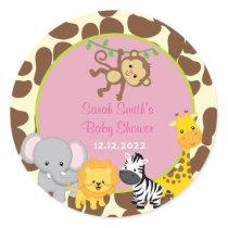 Safari Jungle Girl Baby Shower Favor Tags Stickers
