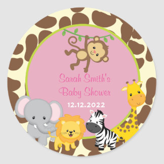 safari jungle girl baby shower favor tags stickers