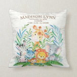 "Safari Jungle Girl Boy Birth Stats Pillow<br><div class=""desc"">Cute safari jungle animals featuring a zebra,  hippo,  elephant,  lion,  monkey &amp; giraffe with an assortment of jungle leaves set on a white wood background.  Visit our shop to view our entire jungle safari baby shower collection!</div>"