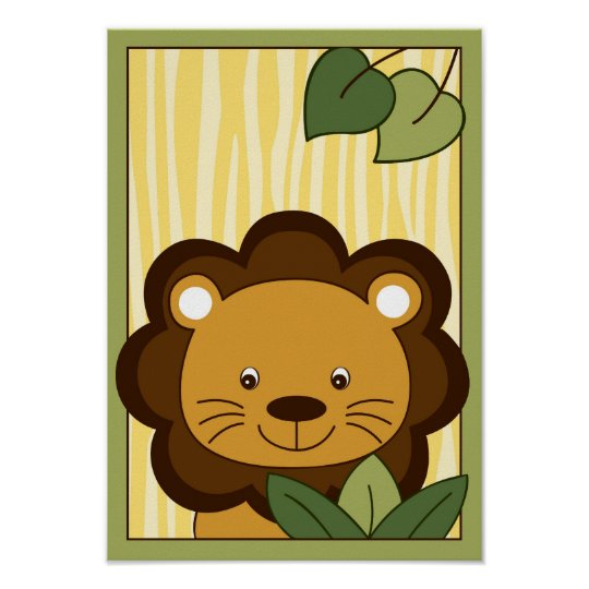 Safari Jungle Lion Nursery Wall Art Print