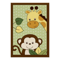 Safari Jungle Monkey Nursery Wall Art Print