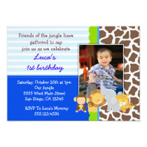 Safari Jungle Monkey Photo Birthday Invitations